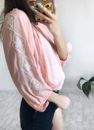 Розпродаж!! пудрова блуза рубашка вишиванка персикова вышиванки купить украина xs s m l