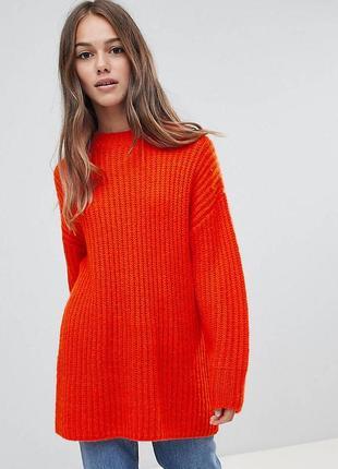 Шерстяный свитер в рубчик