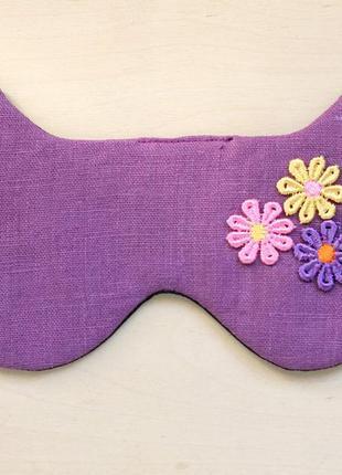 Маска для сна из фиолетового льна с цветами
