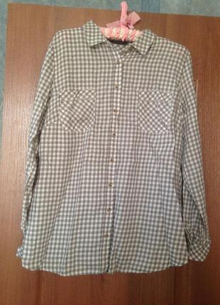 Рубашка в клетку на каждый день от  marks&spencer р.14 xl. лучшая цена!
