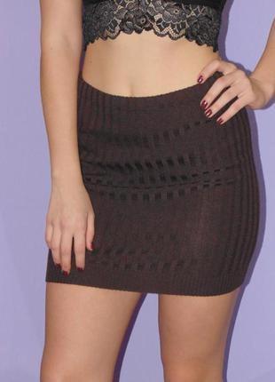 Шоколадная вязанная юбка/резинка/50% шерсть