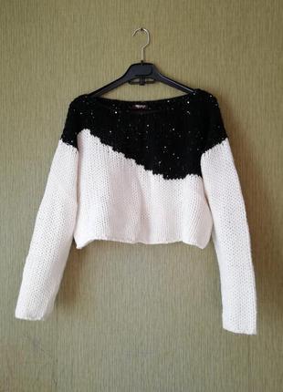 👑теплый укороченный джемпер 👑 свитер крупной вязки 👑 шерсть, акрил, альпака