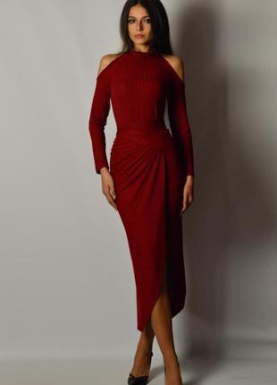 Шикарное сексуальное платье миди трикотаж запах драпировка плечи разрез эксклюзив