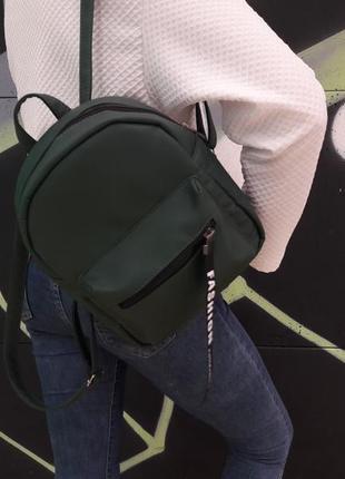 Женский зелёный рюкзак с лентой для учебы, прогулок