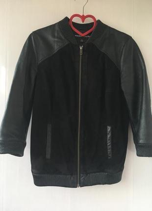 Стильная кожаная куртка бомбер, курточка натуральная кожа