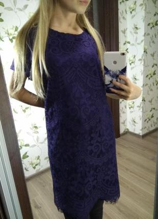 Платье платице сарафан размер 16 50 синее красивое кружевное