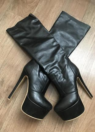 Ботинки на каблуки сапоги чулки чёрные 38-39размер