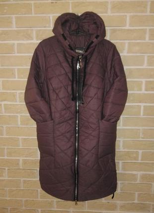 Р 56 деми ежевика пальто куртка стиль батал демисезон тепло легко