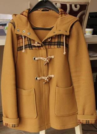 Шерстяное желтое коричневое теплое пальто дафлкот  topshop размер m