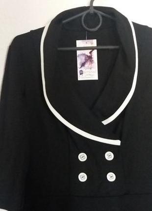 Стильное черное платье с белой отделкой от тм мармелад