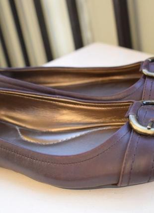 Кожаные туфли балетки р.38 25 см lands end лодочки