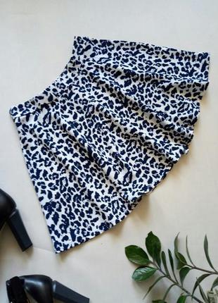 Леопардовая юбка солнце—клеш леопардовый принт