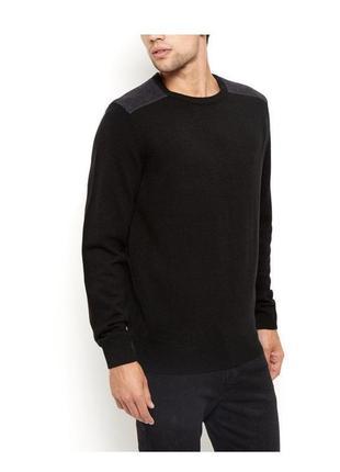 -35% на все! стильный вязаный свитер мужской, чёрный классический джемпер, пуловер