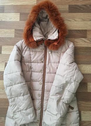 Зимний пуховик пальто бежевый с натуральным мехом