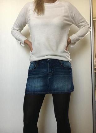 Джинсовая мини юбка tally weijl размер 36, 8 xs s