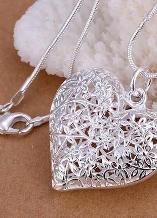 Кулон с цепочкой покрытие серебро