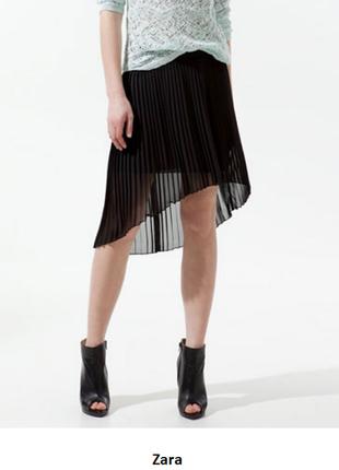 Черная плессированная юбка zara trafaluc ассиметричная шифоновая