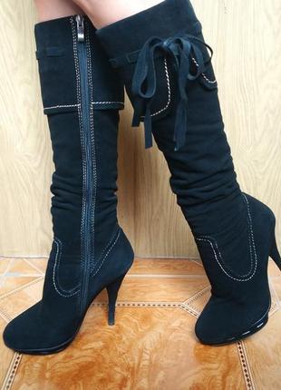 Вечерние высокие замшевые кожаные черные зимние сапоги basconi зима