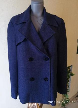 Цена снижена!трикотажное пальто-бойфренд цвета 《джинс》,50-52 р tu