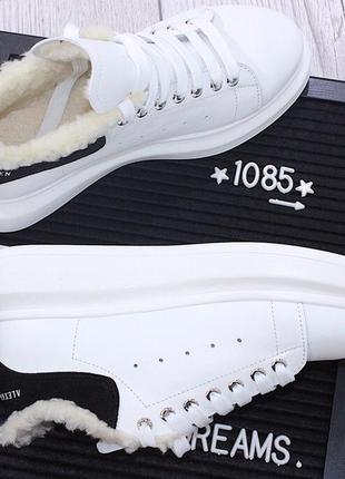 Белые кожаные кроссовки зима на массивной подошве с шерстью маквин. 36.37.38.39.40.
