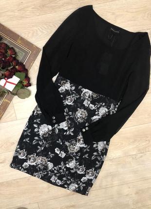 Платье с долгим рукавом черное