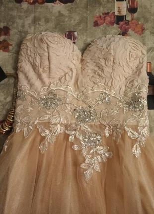 Акція!!коктельное выпускное пышное платье бюстье цвет беж фатин+кружево 😍💎