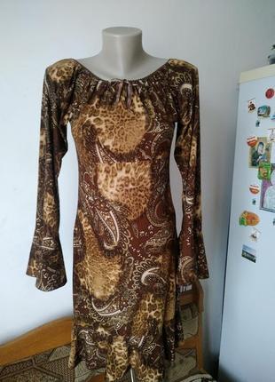 Темное обтягивающие платье миди с рукавами воланами 10 р paris