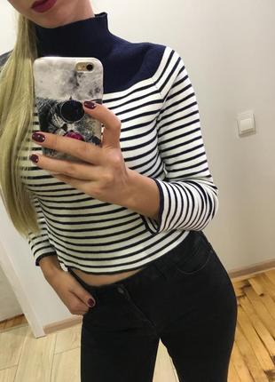 Гольф укорочённый свитер кофта джемпер в полоску