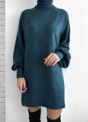 S-l платье-туника трендовое тёплое платье удлинённый гольф