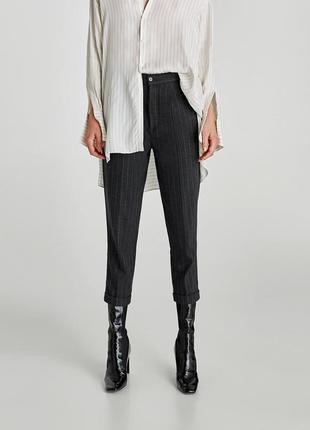Зауженные укороченные брюки женские zara хс с высокая посадка
