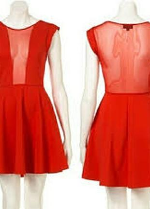 Шикарное новое красное платье с вставками сетки topshop.