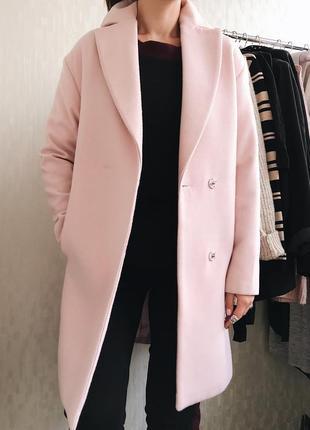 Пальто овер сайз, пальто кокон, розовое пальто love republic