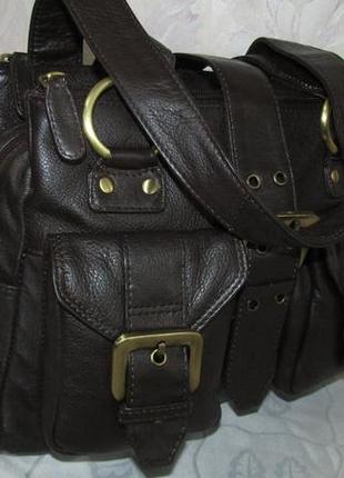 Удобная , шикарная сумка 100 % кожа - tommy & kate -