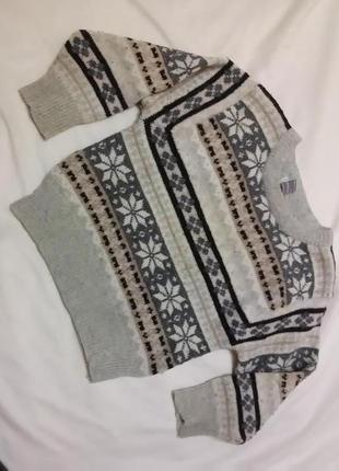 Серый бежевый шерстяной зимний теплый свитер джемпер кофта на мальчика 4-5 лет 110 см