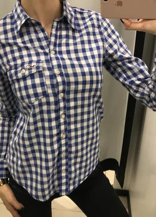 Рубашка в клетку hollister, 100% хлопок