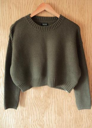Новый джемпер свитер хаки укороченный длинным рукавом короткий оверсайз вязаный кроп