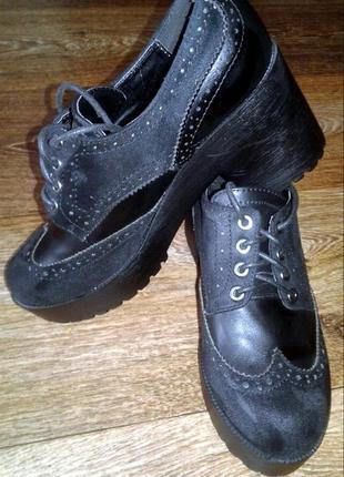 Чёрные туфли оксфорды на шнурках р.36, 37