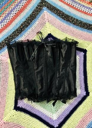 Ажурный кружевной корсет на ленточках и крючках, большой размер 6 xl, 6xl