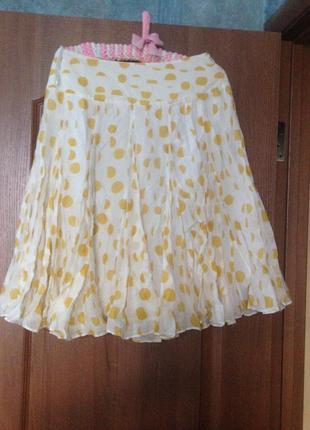 Кокетливая юбка миди в горошек из натурального шелка от coast  р.10 м. лучшая цена!