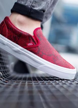 Стильные новые кожаные кеды слипоны vans унисекс chili pepper red snake