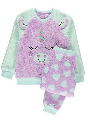 Пижама пушистый флис единорог для девочки, george. размеры 4-5,5-6,6-7,8-9,13-14 лет