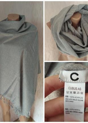 Cubus большой теплый шарф серый 100% акрил 100% acrylic