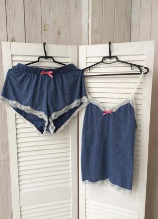 Пижама шорты домашний домашній пижамный костюм пижамка піжама ночнушка с рюшами