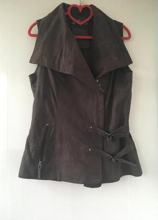 Стильный кожаный жилет, жилетка косуха натуральная кожа нубук