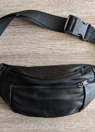 Бананка натуральная кожа. большая сумка на пояс плече. кожанная поясная сумка. распродажа!