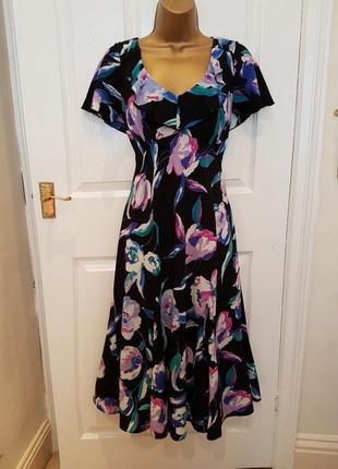 Нарядное платье миди per una/marks&spencer  asos c цветочным принтом на подкладке