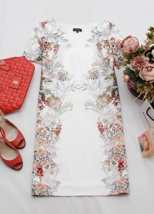 Фактурное натуральное платье прямого кроя в цветочный зеркальный принт caroll