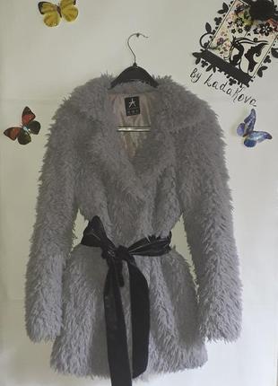 Шуба искусственная лама меховое пальто