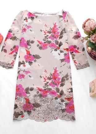 Нарядное шифоновое платье в цветочный принт с вышивкой monsoon 12uk