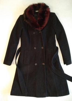 Шерстяное длинное пальто оверсайз меховой воротник